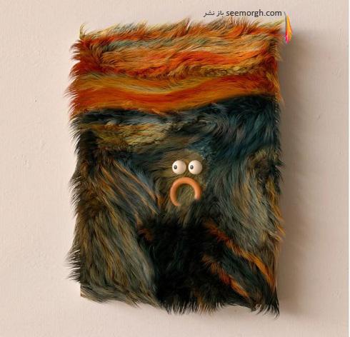 مراد ییلدریم اثر جیغ ادوارد مونک را با خز به تصویر کشید
