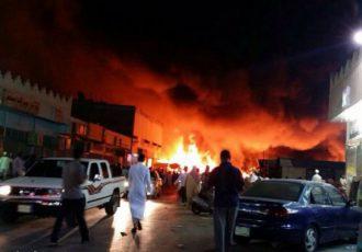 آتش سوزی در یکی از پایانه های نفتی جازان در عربستان