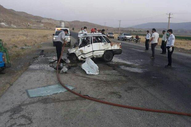 ۴ کشته و مجروح در تصادف پراید با تانکر حمل سوخت